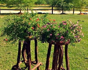 ONE Handcrafted Willow Plant Stand willow inlaid top