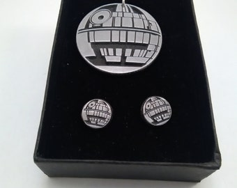 death star, star wars inspired pendant and earrings set
