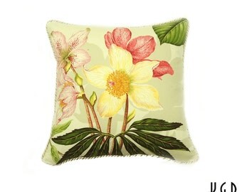 One 18-inch Pierre Frey Botanical Pillow cover // Tiger Lily pillow // Hydrangea flower pillow // kimgatesdesigns