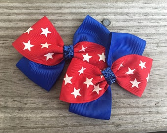 Fourth of July Bows / Fourth of July Pig Tails Set