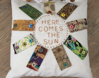 "Applique Sun face Pillow---14"" x 14"""