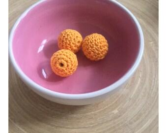 BATCH beads 20mm NEON ORANGE crochet