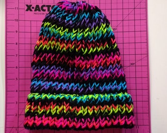 Knitted Beanie - Neon Stripes color