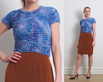 90s Blue Crinkled Pleated Top / S