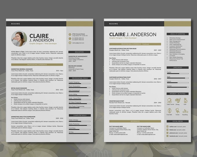 Resume Template / CV Template, 3 Pages Word Resume Design and Cover Letter in 2 Colors, Easy to Edit CV Template