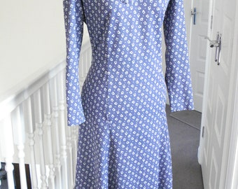 Airforce blue retro 1970s dress with bow by Ladies pride Size 14