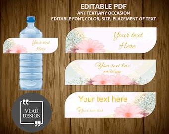 Editable Text Floral Water Bottle Label Editable PDF Custom Bottle Label Wedding Birthday Baby shower Spring Labels Instant download