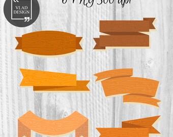 Wooden ribbons Clipart Ribbons Clipart Digital Wooden Elements Wood textures graphics Rustic clipart Decorative wooden ribbons Signs clipart