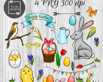 29 Cartoon Happy Easter Elements Easter Clipart Digital Easter Elements Cute spring graphics Easter clipart Eggs Chicks Bunny Flowers Bird