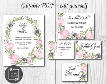 Editable Floral Wedding Invitation Set Watercolor wedding invite Save the Date RSVP Thank you card Printable invitation wedding template