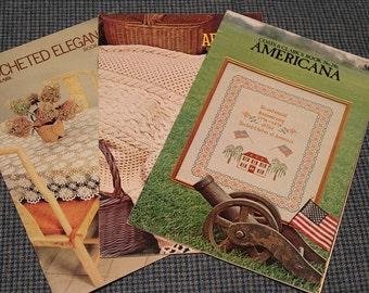 1970's - Coats & Clark ~Crochet Pattern Books #'s 238 - 246 - 279 ~ Doilies ~ Bedspreads ~ Tablecloths ~ Mats ~ Afghans ~Vintage Collectible