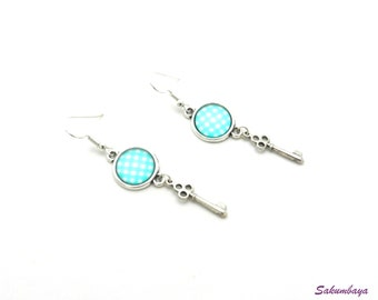 Earrings, silver, blue, mint, checked, gingham, cabochon, keys