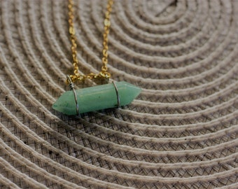 green energy stone, silver necklace