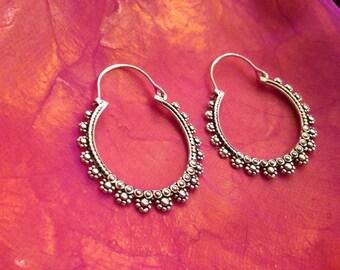 Flower hoop tribal earrings
