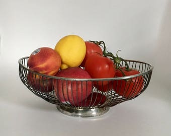 Vintage Silver-Plate Wire Basket - Mid-Century Modern