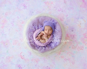 Newborn Digital Background in lilac shades - White nest on gentle floral - instant download