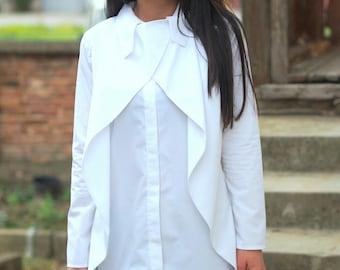 White Loose Shirt /Asymmetric shirt /Oversize Shirt/extravagant maxi shirt/sleeve poplin shirt
