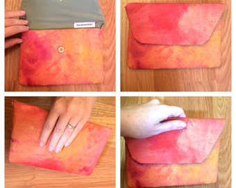 Handmade hand painted clutch purses in bright colors great for night out or travel