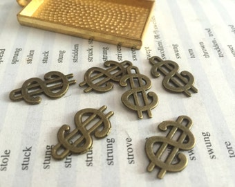 100Pieces /Lot Antique Bronze Plated 9mmx17mm dollars sign Charms