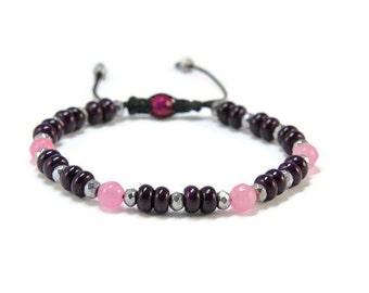 Vadit * Howlite, Hematite & Agate Boho Style Pull - Tie Bracelet