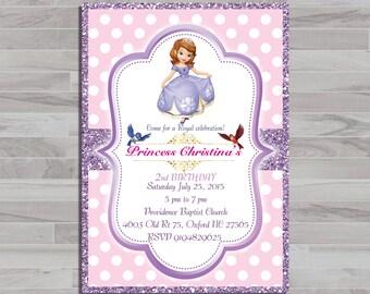 Sofia the First Invitation, Princess Sofia Invite, Sofia the First Birthday Invitation,Sofia Birthday Party, Sofia Thank You Card   PR_12
