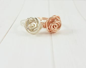Wire Wrapped Rose Ring, Rose Gold Ring, Silver Rose Ring, Wire Wrapped Rose Jewelry, Promise Ring, Bridesmaid Ring, Mother's Day Jewelry
