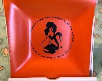 Vintage Playboy Orange Ashtray ~ The Playboy Club 1960's Orange Glass Ashtray