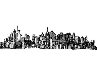 New York City Architecture Sketching Drawing Clip Art Digital Download PNG High Resolution