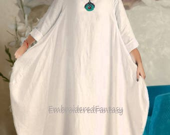 Natural Linen, Pure Linen Dress, Linen Caftan, Linen nightgown, Boho,  maternity dress, Beachwear, Pure Linen bechwear, Caftan Dubai, Gift,