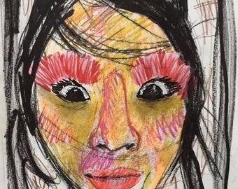 Retratos rápidos/feos por encargo, un dibujo regalo ideal, original y divertido,colorido,expresionista,alegre. retrato, abstracto,expresivo