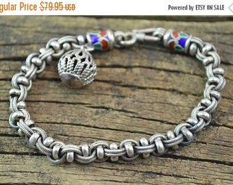 On Sale Cloisonne Detailed Clasp Fancy Chain Bracelet Sterling Silver 25.4g