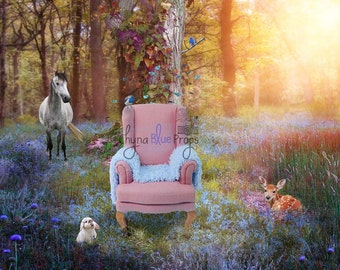 Woodland digital background with pink Chair (Instant download)