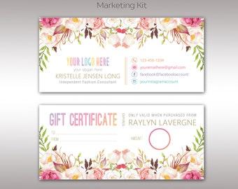 Boho Gift Certificate, Boho Marketing Kit, Fast Free Personalization, Digital File, Template for Retailer, Business Card K25804