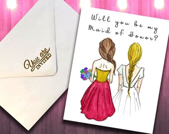 Will You Be My Maid of Honor pdf Download, Blonde Bride, Brunette Maid of Honor, Brunette Bridesmaid, Maid of Honor Printable Card Gift
