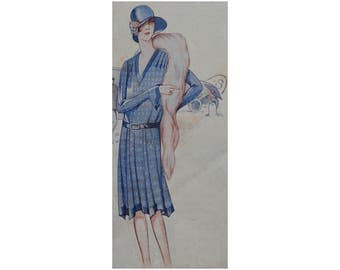 An attractive 1920's spring or summer dress, ready-made printable pattern