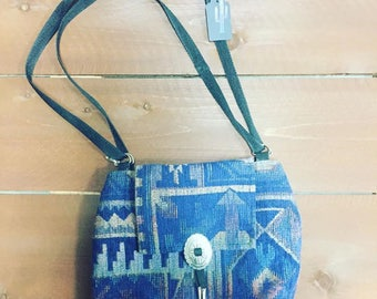 Blue southwestern purse with concho