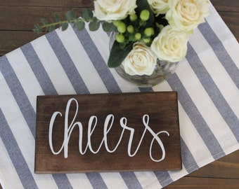 Cheers | Bar Sign | Wedding Decor | Wood Sign | Hand Lettered