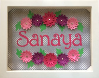 Dimensional flowers - personalized shadow-box frame