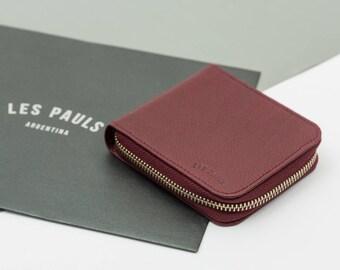Leather Zip Wallet / Purple