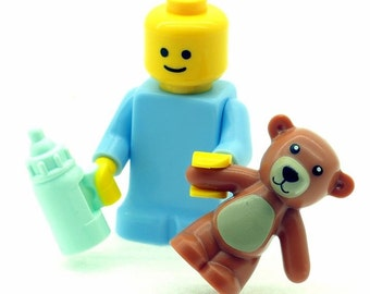 Baby Minifigure with Bottle & Teddy Bear Made from LEGO Parts