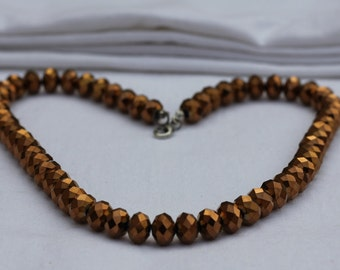 Brown Crystal Beaded Necklace, Statement Necklace, Bib Necklace, Choker, Collar Necklace, Bead Necklace, Bridesmaid necklace, Crystal Gem