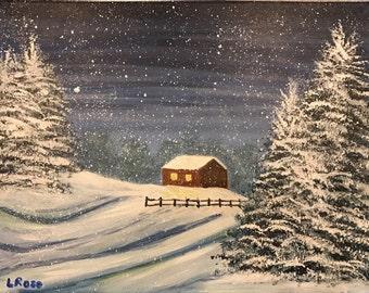 Original Acrylic painting on canvas. Title: Snowy Night