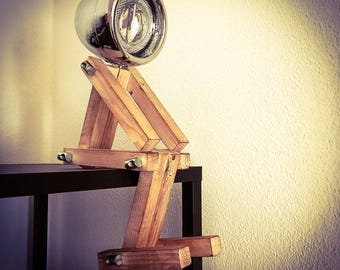 """Desk lamp, night lamp, Desk Buddy """", Industrial Lamp, wooden lamp, handmade, Loft, natural Light, Retro, chrome"""