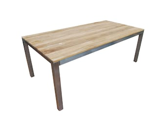 Table in teak and stainless steel 200cm