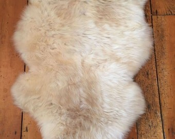 Genuine Natural Creamy Brown British Sheepskin - Luxury rug/throw (10.10)