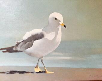 SEAGUL IN  SAND   fine art original oil painting, sea bird