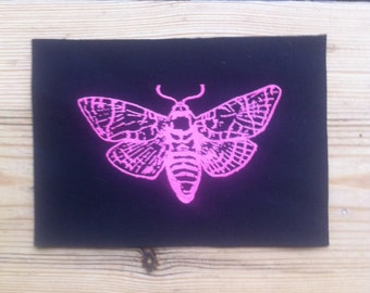 Moth Patch, Neon Pink Patch, Punk Patch, Sew on Patch, Black Patch
