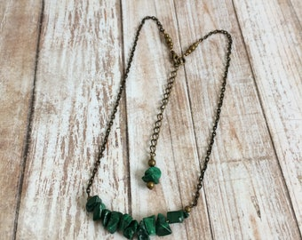Malachite Necklace in Antique Bronze