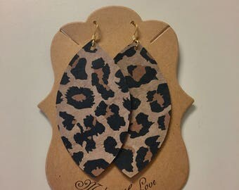Leopard Leather Statement Earrings