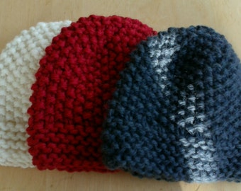 Super soft and chunky hand knitted beanie hat